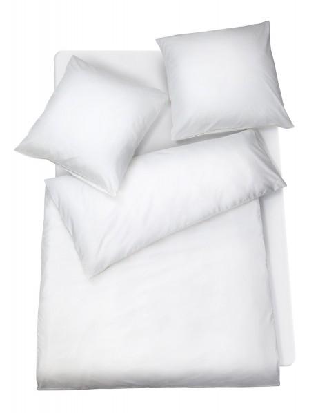 Mako Satin Premium Bettwäsche Weiß Uni aus 100% Baumwolle