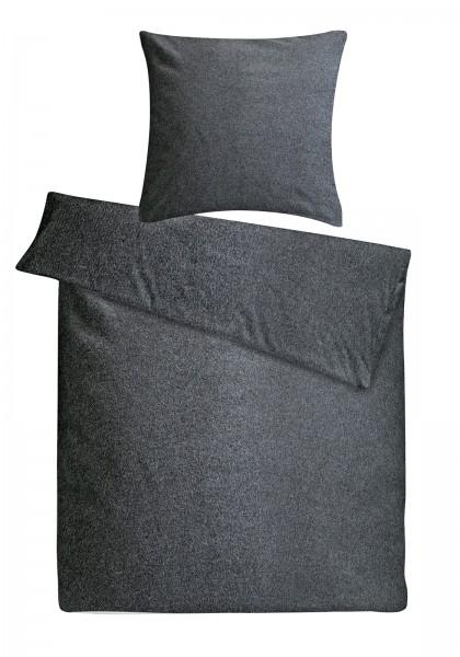 Biber Bettwäsche Melange Anthrazit aus 90% Baumwolle, 10% Polyester
