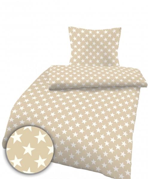 Biber Bettwäsche Sterne hell aus 100% Baumwolle