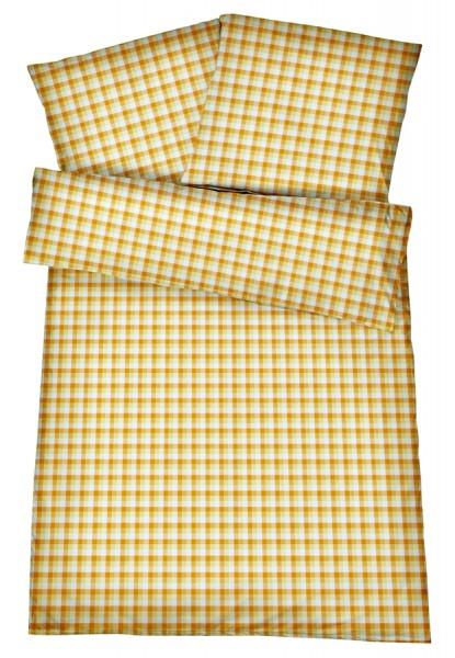 Mako-Perkal Bettwäsche 135x200 cm - Karos 5 - Gelb aus 100% Baumwolle