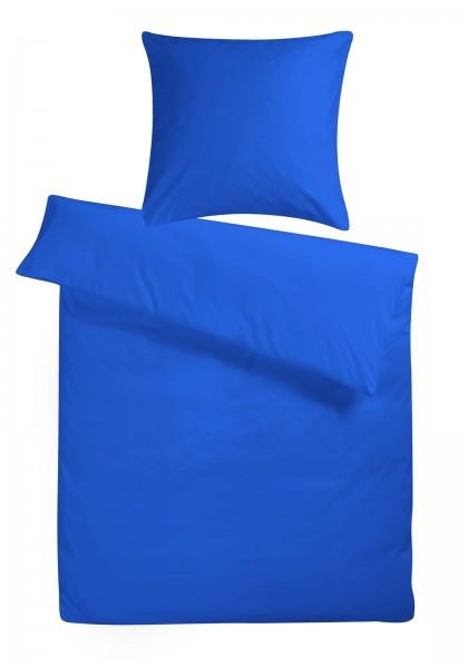 Mako Satin Bettwäsche Dunkel-Blau Uni aus 100% Baumwolle