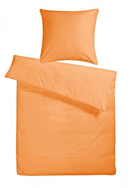 Mako Satin Bettwäsche Orange Uni aus 100% Baumwolle