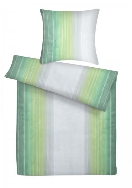 Mako Satin Bettwäsche Aquarell Streifen Grün aus 100% Baumwolle