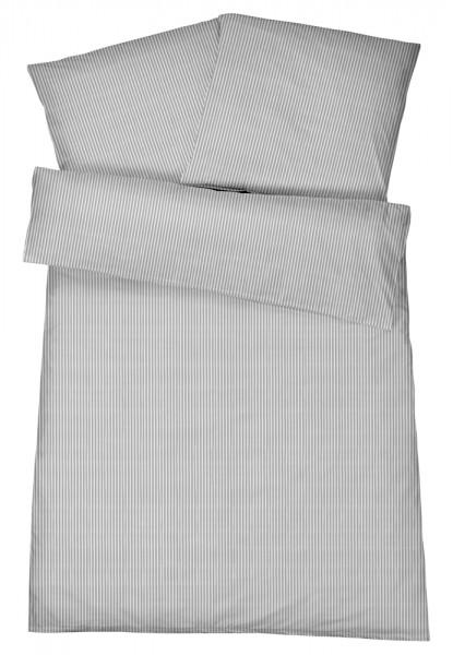 Mako Brokat Damast Bettwäsche Feinstreifen Grau aus 100% Baumwolle