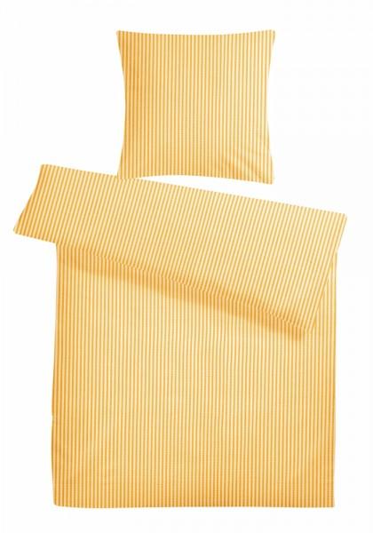 Seersucker Bettwäsche Streifen Gelb aus 100% Baumwolle