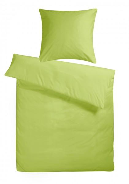 Biber Bettwäsche Hellgrün Uni aus 100% Baumwolle