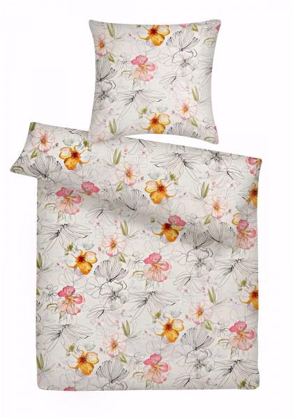 Mako Satin Bettwäsche bunt Floral aus 100% Baumwolle