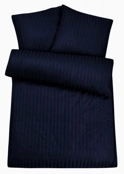 Damast Bettwäsche Nacht-Blau aus 100% Baumwolle