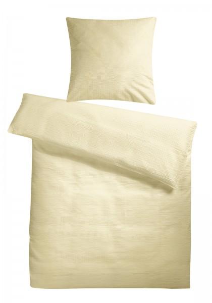 Seersucker Bettwäsche Creme Uni aus 100% Baumwolle