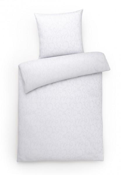 Damast Bettwäsche Ranke Weiß aus 100% Baumwolle