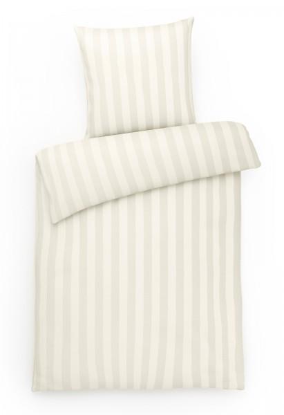 Mako Brokat Damast Bettwäsche Blockstreifen Creme aus 100% Baumwolle