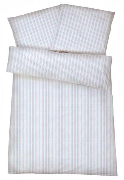 Mako-Perkal Bettwäsche 135x200 cm - Streifen 7 - Rosa aus 100% Baumwolle