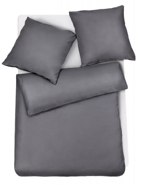 Mako Satin Premium Bettwäsche Anthrazit Uni aus 100% Baumwolle