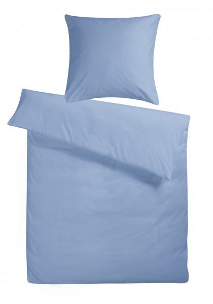 Mako Satin Bettwäsche Taubenblau Uni aus 100% Baumwolle