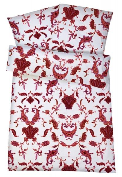 Mako Satin Bettwäsche Paisley Rot aus 100% Baumwolle