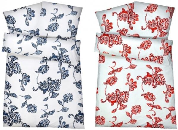 Mako Satin Bettwäsche Blumenmuster aus 100% Baumwolle