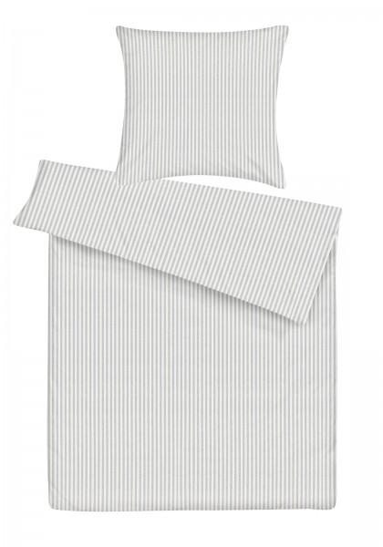 Biber Bettwäsche Streifen Silber aus 100% Baumwolle