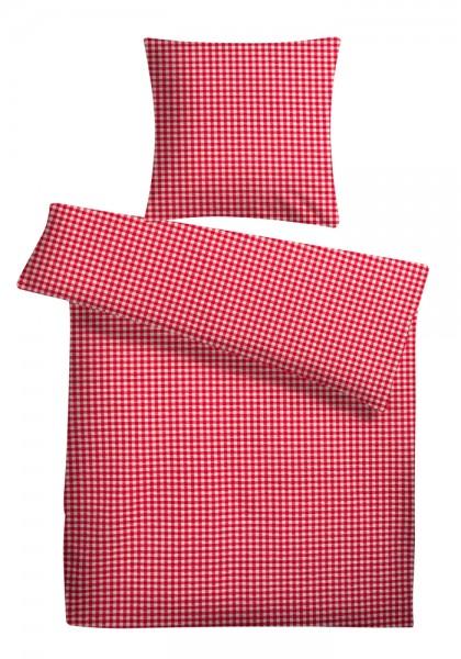 Seersucker Bettwäsche Karo Rot aus 100% Baumwolle