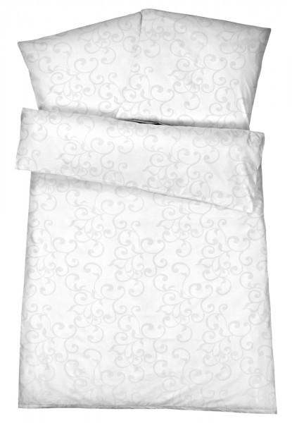 Damast Bettwäsche Ornamente Weiß Aus 100 Baumwolle