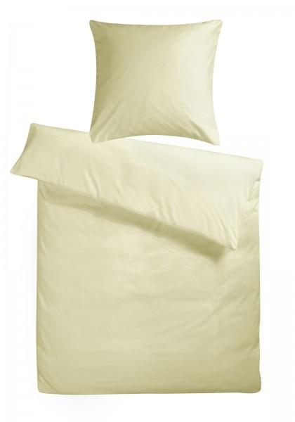 Mako Satin Bettwäsche Creme Uni aus 100% Baumwolle