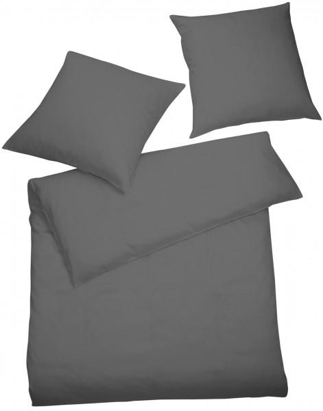 Interlock Jersey Bettwäsche Anthrazit Uni aus 100% Baumwolle