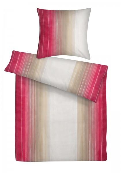 Mako Satin Bettwäsche Aquarell Streifen Rot aus 100% Baumwolle