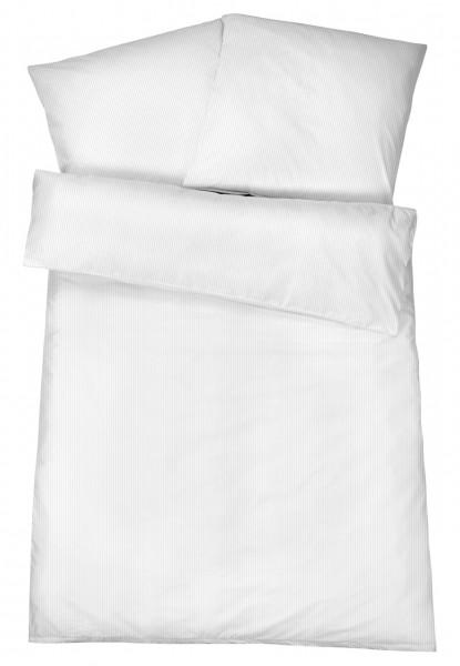 Mako Brokat Damast Bettwäsche Feinstreifen Weiß aus 100% Baumwolle