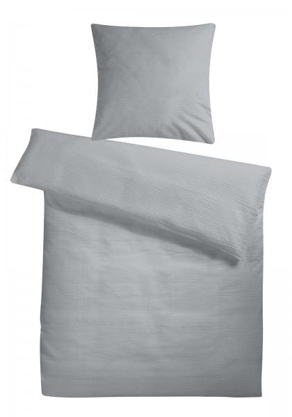 Seersucker Bettwäsche Grau Uni aus 100% Baumwolle
