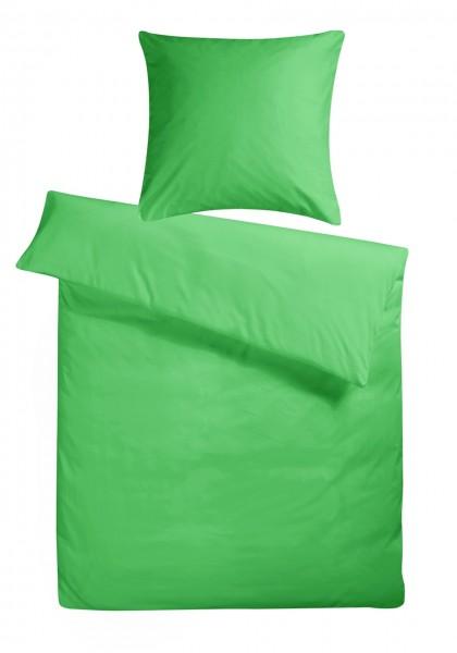 Mako Satin Bettwäsche Grün Uni aus 100% Baumwolle