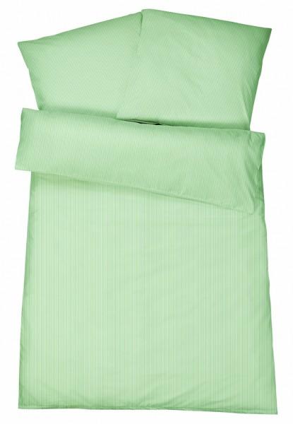 Mako-Perkal Bettwäsche 135x200 cm - Streifen 1 - Grün aus 100% Baumwolle