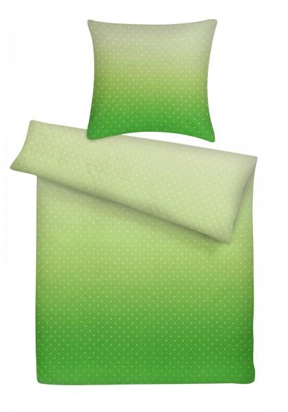 Mako Satin Bettwäsche Punkte Grün aus 100% Baumwolle