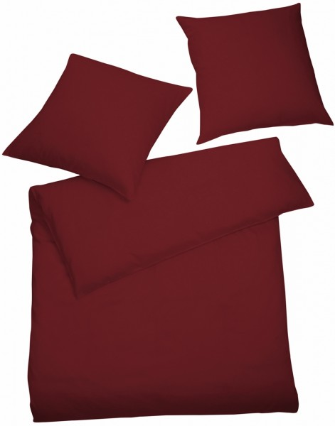 Interlock Jersey Bettwäsche Bordeaux-Rot Uni aus 100% Baumwolle
