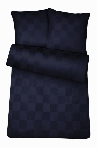 Damast Bettwäsche Nachtblau Karo aus 100% Baumwolle