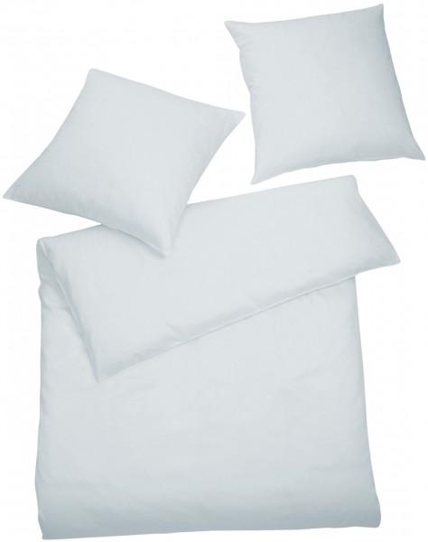 Interlock Jersey Bettwäsche Blau-Grau Uni aus 100% Baumwolle