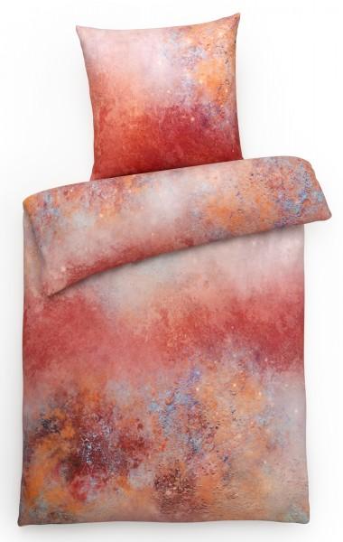 Mako Satin Bettwäsche Aqua Rot aus 100% Baumwolle
