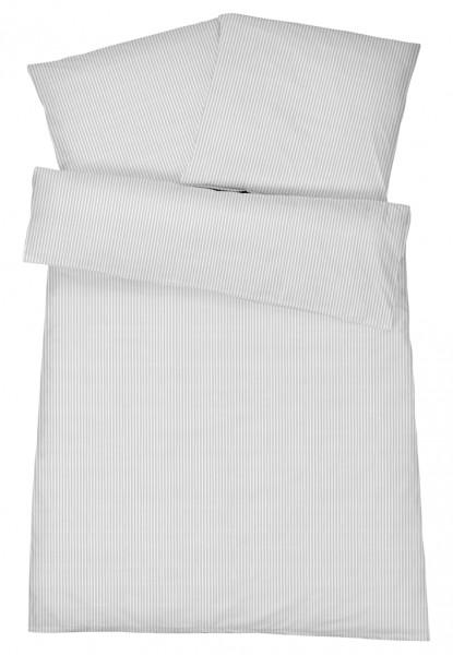 Mako Brokat Damast Bettwäsche Feinstreifen Silber aus 100% Baumwolle