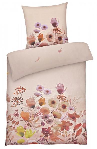 Biber Bettwäsche bunte Blumen aus 100% Baumwolle Rose'