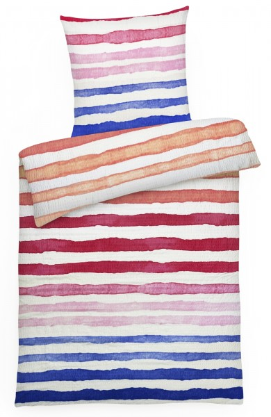 Seersucker Bettwäsche bunte Streifen Blau aus 100% Baumwolle