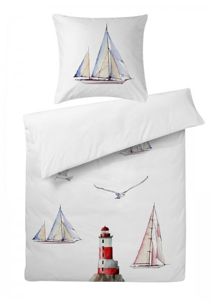 Mako Satin Bettwäsche Segelboot aus 100% Baumwolle