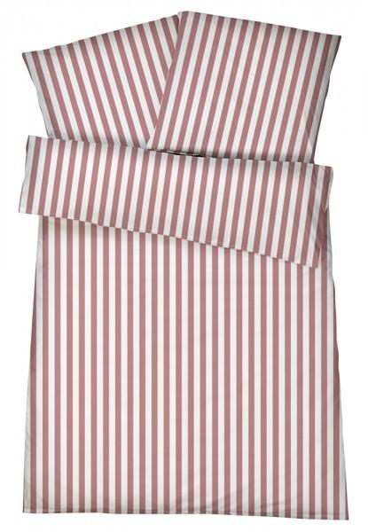 Mako-Perkal Bettwäsche 155x220 cm - Streifen 6 - Himbeere aus 100% Baumwolle