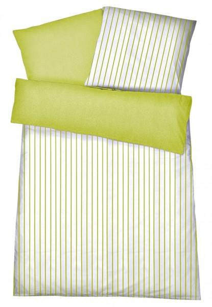 Mako Satin Wendebettwäsche Streifen Melange Grün aus 100% Baumwolle
