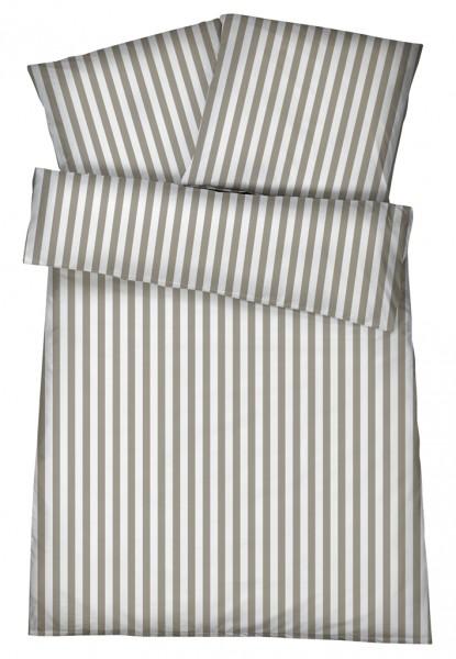 Mako-Perkal Bettwäsche 155x220 cm - Streifen 6 - Sand aus 100% Baumwolle