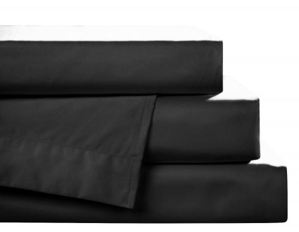 Biber Spannbettlaken schwarz aus 100% Baumwolle