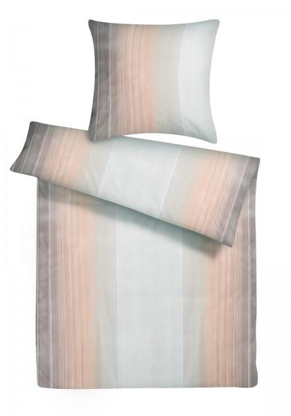 Mako Satin Bettwäsche Aquarell Streifen Grau aus 100% Baumwolle