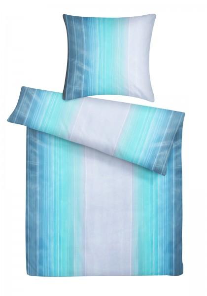 Mako Satin Bettwäsche Aquarell Streifen Blau aus 100% Baumwolle