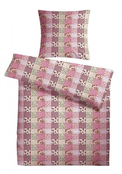 Seersucker Bettwäsche Patchwork Rosa aus 100% Baumwolle