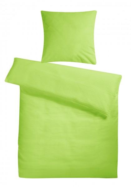 Seersucker Bettwäsche Grün Uni aus 100% Baumwolle