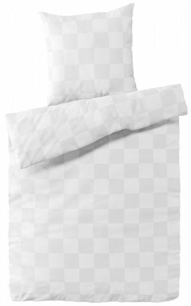 Damast Bettwäsche Weiß Karo aus 100% Baumwolle