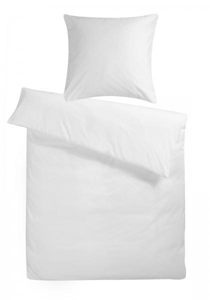 Mako-Perkal Bettwäsche 135x200 cm Weiß Uni aus 100% Baumwolle