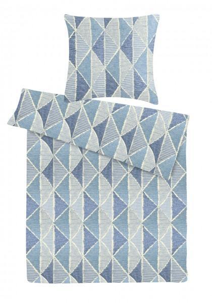 Biber Bettwäsche Dreiecke Blau aus 100% Baumwolle